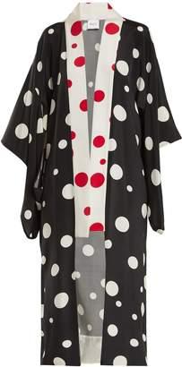 RACIL Mameha dot-print silk-cady kimono jacket
