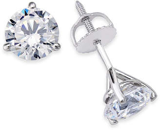 Macy's Certified Near Colorless Diamond 3-Prong Stud Earrings (1-1/2 ct. t.w.) in 18k White Gold