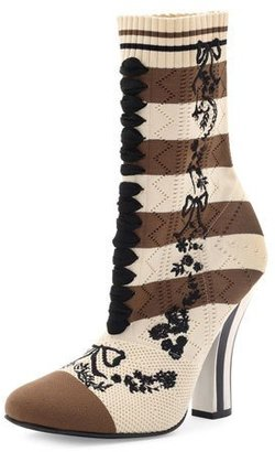 Fendi Striped Knit Sock Bootie $1,050 thestylecure.com