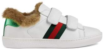 Gucci Children's Ace leather sneaker with faux fur