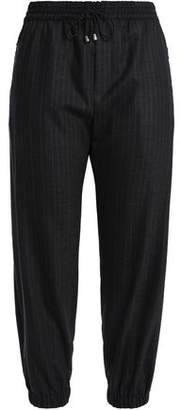 Milly Pinstriped Wool-blend Twill Track Pants