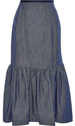 Derek Lam Gathered Denim Midi Skirt