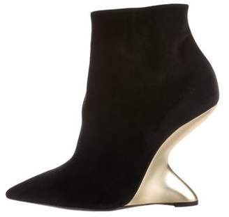 Salvatore Ferragamo Pointed-Toe Velvet Ankle Boots w/ Tags