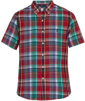 Polo Ralph Lauren Custom Fit Checked Short Sleeved Cotton Shirt - Mens - Red Multi