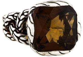 John Hardy Smoky Quartz Medium Classic Chain Braided Ring