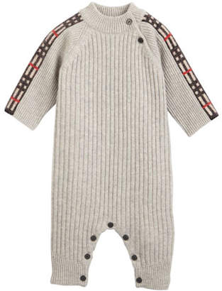 Burberry Cathina Check-Trim Rib-Knit Coverall, Size 3-12 Months