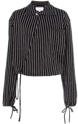 Telfar drawstring-hem striped cotton shirt