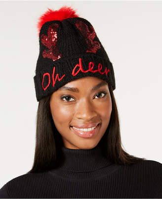Charter Club Oh Deer Sequined Beanie
