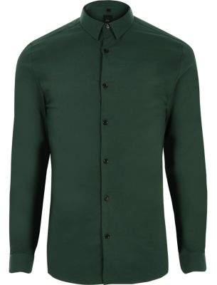 River Island Dark green muscle fit shirt
