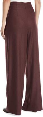 Loro Piana Killian High-Waist Wide-Leg Cashmere Flannel Pants