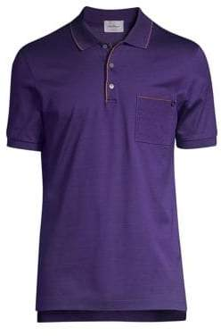 Salvatore Ferragamo Pique Contrast Cotton Polo Shirt