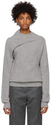 Jil Sander Grey Ribbed Cashmere Sweater