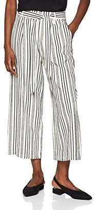 New Look Women's Chunky Stripe Tie Waist Wide-Leg Trousers,8