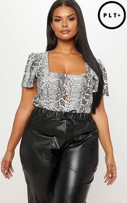 PrettyLittleThing Plus White Snake Print Button Front Square Neck Top