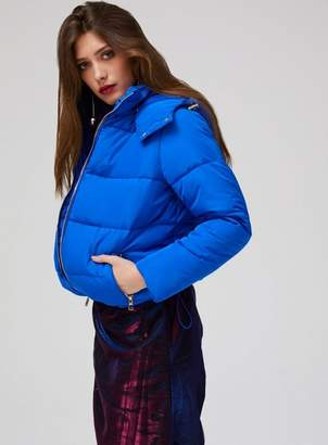 Miss Selfridge Blue oversized hooded puffer jacket