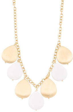 Made In Italy 18k Gold Plated Sterling Silver White Agate Necklace