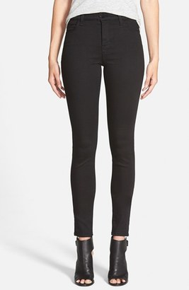 J Brand 'Maria' High Rise Skinny Jeans (Seriously Black) $198 thestylecure.com