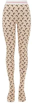 Marine Serre Crescent Moon Print Stretch Jersey Leggings - Womens - White