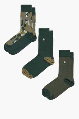 Jack Wills Hawkslade Camo 3pk Socks