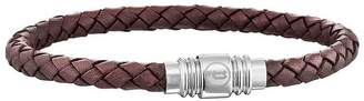 Mens Brown Leather Weave Magnetic Bracelet