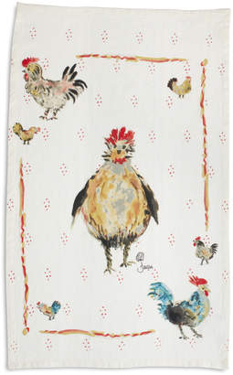 Sur La Table Jacques Pepin Collection Framed Chickens Linen Kitchen Towel