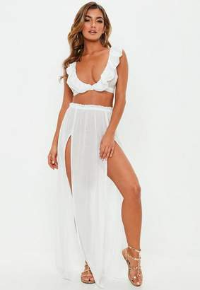 Missguided White Side Split Cover Up Maxi Skirt