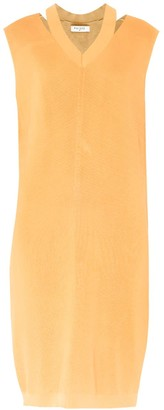 Paisie V-Neck Sleeveless Dress With Cut Out Neck In Orange