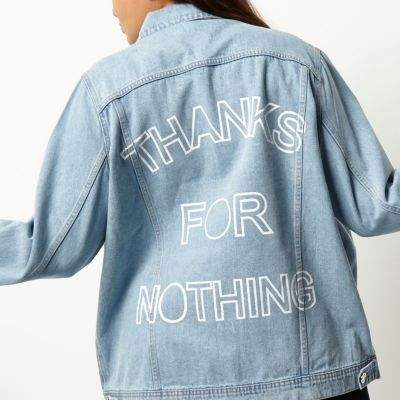 River Island River Island Womens Plus light blue slogan print denim jacket