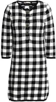 Maje Gingham Jacquard-Knit Cotton-Blend Mini Dress