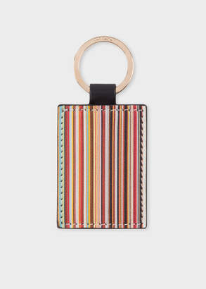 Paul Smith Black Calf Leather Signature Stripe Keyring