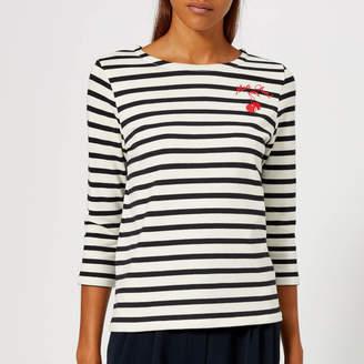 Whistles Women's Mon Cheri Embroidered Stripe Top