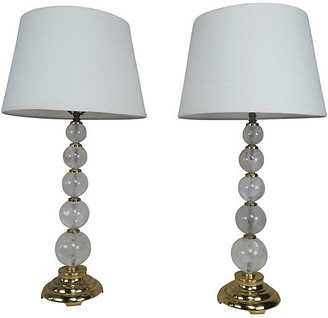 One Kings Lane Vintage Rock Crystal Spherical Lamps with Shades