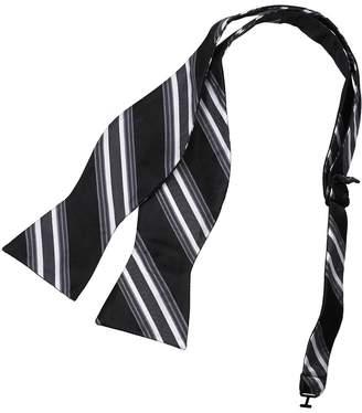 IDEA DBA7A23C Dark Blue Tan Stripes Bow Tie Microfiber Mens Gift Self-tied Bow Tie By Dan Smith