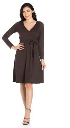 24/7 Comfort Apparel 24seven Comfort Apparel Chic V-Neck Long Sleeve Wrap Dress