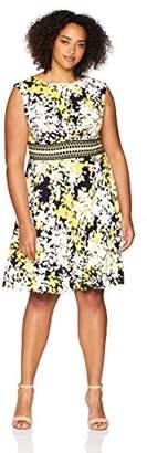 London Times Women's Plus Size Cap Sleeve Inset Waist Matte Jersey FIT & Flare