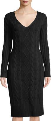 J.o.a. V-Neck Long-Sleeve Cable Knit Midi Sweaterdress