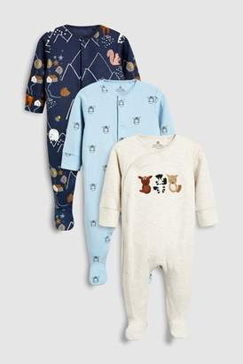 Next Boys Oatmeal/Navy Animal Embroidered Sleepsuits Three Pack (0mths-2yrs)