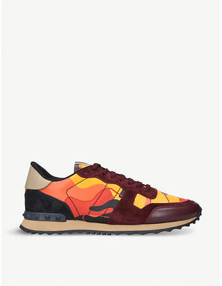 Valentino Rockrunner camo-print leather and suede trainers