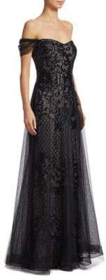 Teri Jon by Rickie Freeman Embellished Off-The-Shoulder Sequin Gown