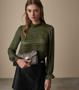 Reiss Our last order date for Christmas has now passed ALISSON BURNOUT SNAKE PATTERN BLOUSE Khaki