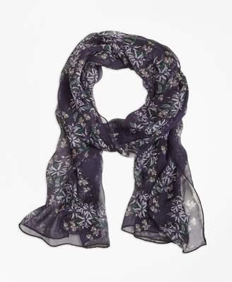 Brooks Brothers Wildflower-Print Silk Chiffon Oblong Scarf