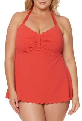 Jessica Simpson Plus One-Piece Scallop Swimsuit