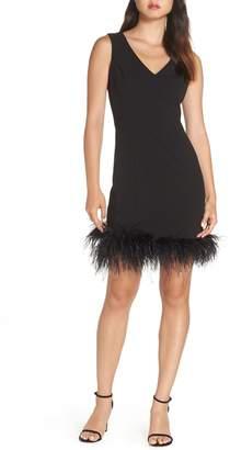 Eliza J Feather Trim Body-Con Dress