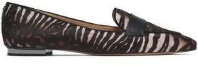 Schutz Leather-Trimmed Zebra-Print Calf Hair Slippers