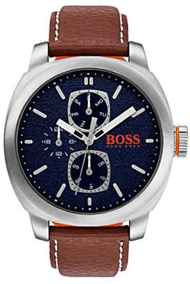 BOSS ORANGE Cape Town Multifunction Blue Dial Leather Strap Watch