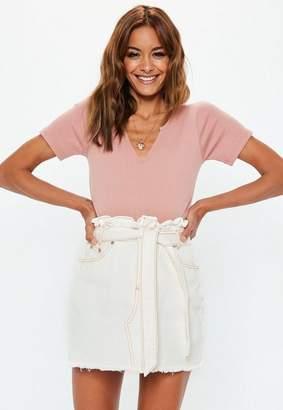 Missguided White Contrast Stitch Paperbag Denim Mini Skirt