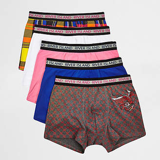 River Island Red dragon check print trunks multipack