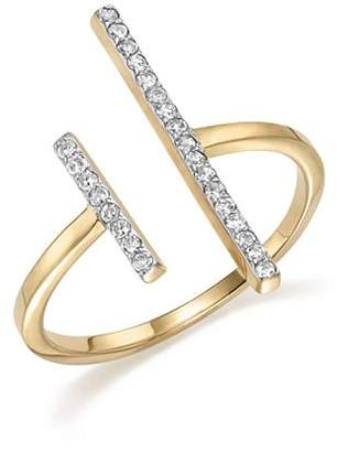 MATEO 14K Yellow Gold Double Bar Ring with Diamonds