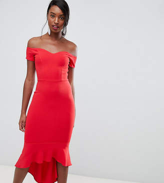John Zack Tall off shoulder ruffle midi dress in red 58a21198e