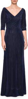 La Femme Striped Velvet Column Gown